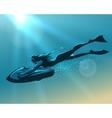 Girl driving underwater scooter vector image