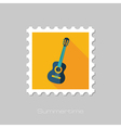 Guitar Beach flat stamp Summer Vacation vector image