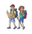 Family Hiking Young Couple in the Campaign vector image