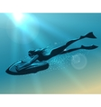 Girl driving underwater scooter vector image