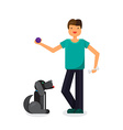 Happy man with lovely dog vector image
