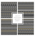 set of 4 hand drawn seamless geometric patterns vector image