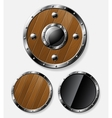 Set of round shields isolated on grey vector image