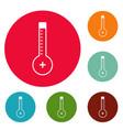 thermometer warmly icons circle set vector image