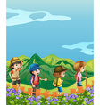 Children hiking up the hill vector image vector image
