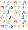 seamless pattern with signs and names of chakras vector image