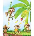 Playful monkeys near the banana plant vector image vector image