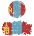 Mongolian round and square grunge flags vector image