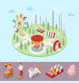 amusement park with carousel ferris wheel vector image