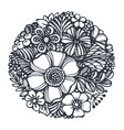 beautiful flowers and plants in the circle vector image