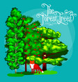 cartoon set trees outdoor park outdoor vector image