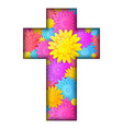 cross with colorful flowers vector image