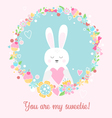 Cute rabbit with heart You are my sweetie vector image