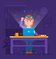 freelancer working at night concept young woman vector image
