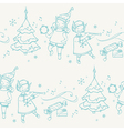 Seamless pattern with Christmas elves musicians vector image