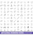 100 global warming icons set outline style vector image