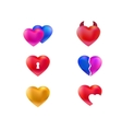 Collection of hearts icons vector image
