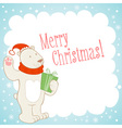 White polar bear Christmas greeting card vector image vector image