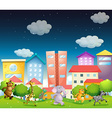 Animals and city vector image vector image