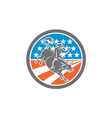 Rodeo Cowboy Bull Riding Flag Circle Retro vector image vector image