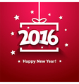 White paper gift box with 2016 New Year greeting vector image vector image
