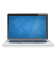 Laptop with abstract World map on screen vector image vector image