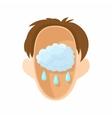 Head with rain cloud icon cartoon style vector image