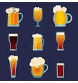 Beer glass cups icons set Beer bottle isolated vector image