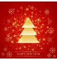 Christmas and Happy New Years on the red vector image