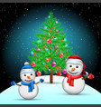 christmas tree and snowmans on snow hill vector image