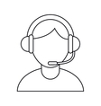 Isolated operator man with headphone design vector image