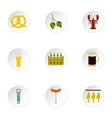Alcoholic beverage icons set flat style vector image