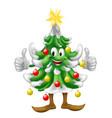 christmas tree mascot doing thumbs up vector image vector image