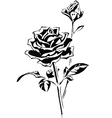 Stylized silhouette of rose vector image vector image