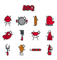 barbecue and grill icon set vector image