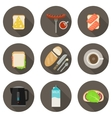 Breakfast flat icons vector image