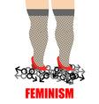 Feminism Womens feet trampling men sign for women vector image