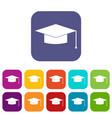 graduation cap icons set vector image