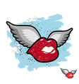 Kiss with wings flying lips Emblem grunge lovers vector image