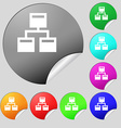 Local Network icon sign Set of eight multi-colored vector image