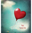 retro card balloon-hearts flying in the sky vector image