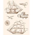 Set of vintage hand drawn sailing ships vector image