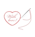 embroidery with heart vector image vector image