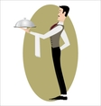 Elegant slim waiter with a serving dish vector image