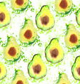 Avocado fruit - watercolor seamless pattern vector image