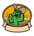 cactus cowboy cartoon vector image