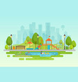city park urban outdoor decor elements parks and vector image