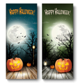 Two Holiday Halloween Banners with Pumpkins and vector image