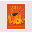 Wok poster Template poster of wok restaurant vector image