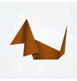 brown simple paper origami dog od white paper vector image